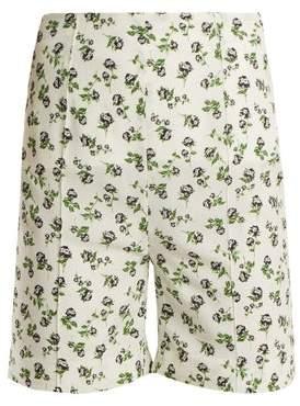 Emilia Wickstead - Aloha Rose Print High Rise Georgette Shorts - Womens - White Print