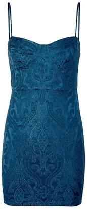 Free People Karla Blue Jacquard Mini Dress