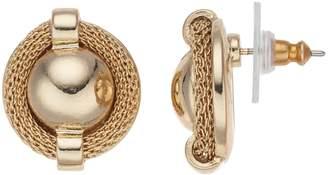Dana Buchman Gold Tone Mesh Button Stud Earrings