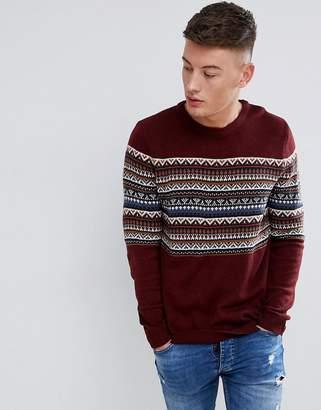 Pull&Bear Fair Isle Sweater In Burgundy