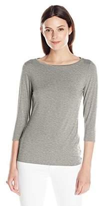 Lark & Ro Women's 3/4 Sleeve Super Soft Boat NeckT-Shirt