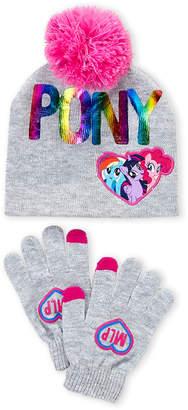 My Little Pony Girls 4-6x) Two-Piece Knit Pony Print Beanie and Gloves Set