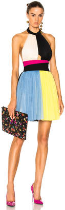 Fausto Puglisi Color Block Short Halter Top Tulle Dress