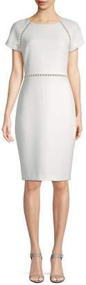 Badgley Mischka Pearl Trim Sheath Dress