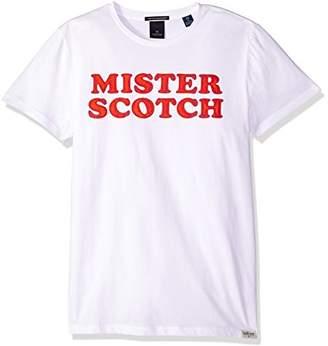 Scotch & Soda Men's Crewneck Tee with Logo Chest Artworks