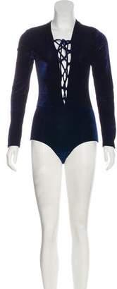 Reformation Velvet Long Sleeve Bodysuit w/ Tags