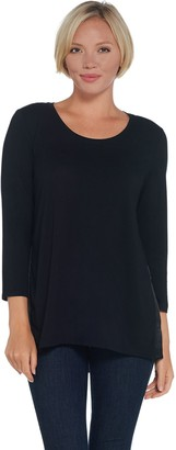 Halston H By H by 3/4 Sleeve Knit Tunic with Woven Back Shirring Detail