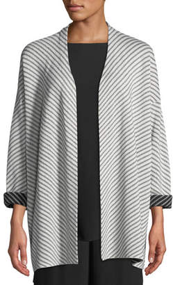 Eileen Fisher Optic Striped Silk/Cotton Cardigan, Petite