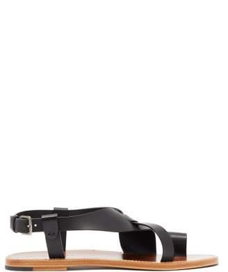 Bottega Veneta Cross Strap Leather Sandals - Womens - Black