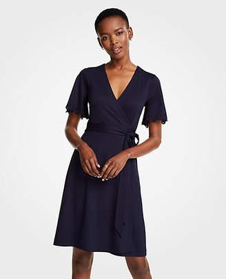 Ann Taylor Petite Embroidered Flutter Sleeve Wrap Dress