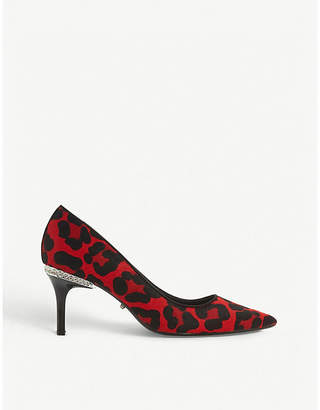 Dune Bellowes embellished leopard-print ponyhair courts