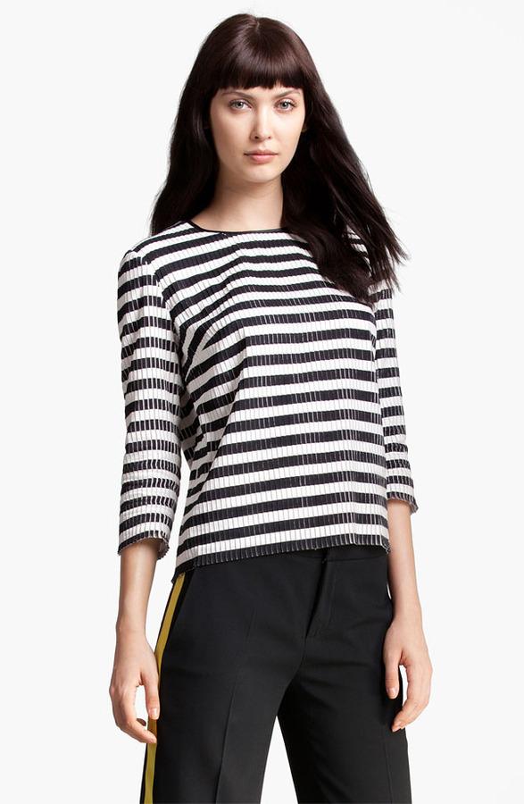 MSGM Stripe Silk & Cotton Top