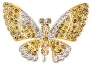 18K Diamond Butterfly Brooch Pendant