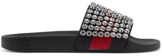 Gucci Pursuit Crystal-embellished Leather And Rubber Slides