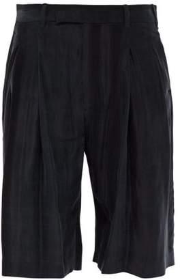 Ann Demeulemeester Wide Leg Washed Satin Shorts - Mens - Black
