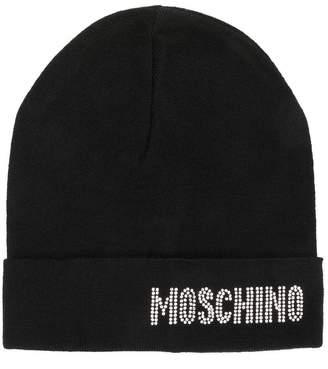 Moschino crystal embellished logo beanie