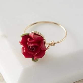 Kat&Bee Red Rose Flower Gold Ring