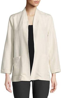 Eileen Fisher Silk Blend Pucker Grid Jacket