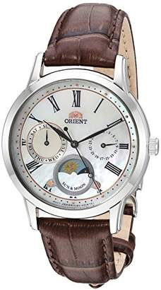 Orient Men's 'Sun and Moon Petite' Quartz Stainless Steel and Leather Dress Watch