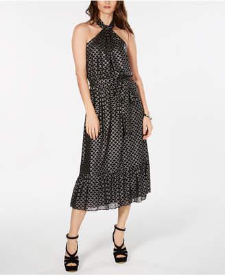 Michael Kors Metallic-Print Belted Dress