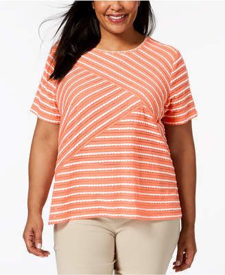 Alfred Dunner Los Cabos Plus Size Textured Striped Top