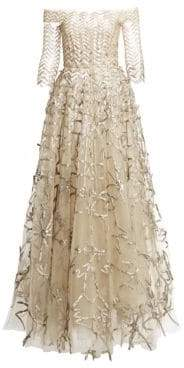 Oscar de la Renta Women's Off-The-Shoulder Metallic Embroidery Mesh Ball Gown - Beige Champagne - Size 4