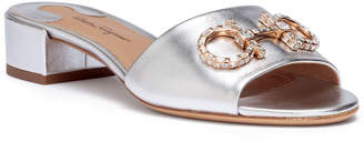 Salvatore Ferragamo Lampio 30 silver leather sandals