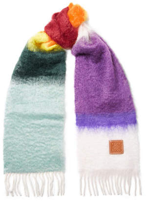 Loewe Fringed Mohair And Wool-blend Scarf