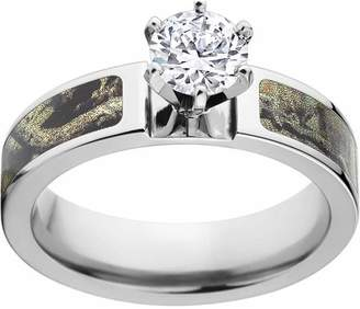 Mossy Oak Break Up Infinity Camo1 Carat T.G.W. Round CZ in 14kt White Gold Prong Setting Cobalt Engagement Ring with Polished Edges and Deluxe Comfort Fit