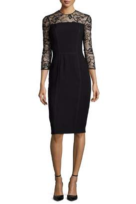 Carmen Marc Valvo Lace Trim Dress