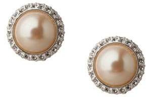 Carolee Pearl and Crystal Button Earrings