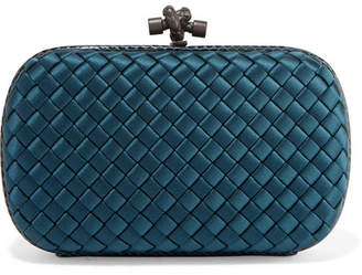 f13d738d56 Bottega Veneta Chain Knot Watersnake-trimmed Intrecciato Satin Clutch -  Petrol