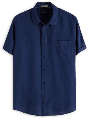 Scotch & Soda Garment-Dyed Short-Sleeve Linen Button-Down Shirt