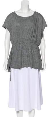 Current/Elliott Drawstring Belt-Accented Short Sleeve Top