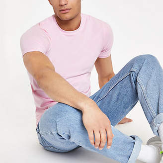 River Island Pink muscle fit crew neck T-shirt