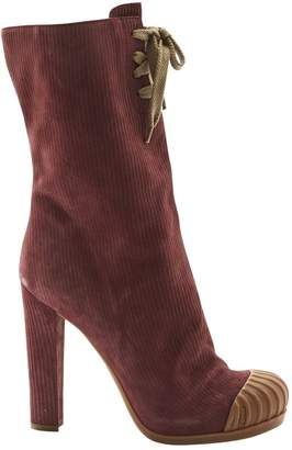 Fendi Burgundy Suede Ankle boots
