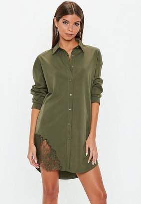 Missguided Khaki Lace Trim Shirt Dress