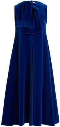 Maison Rabih Kayrouz Sleeveless neck-tie cotton-velvet midi dress