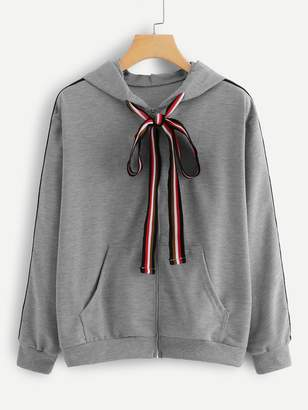 Shein Kangaroo Pocket Drawstring Hooded Jacket