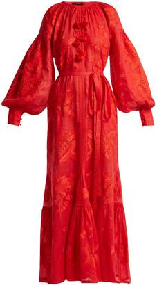 VITA KIN Grapevine floral-embroidered linen dress