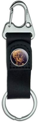 Graphics and More Skull with a Burning Cigarette Van Gogh Belt Clip On Carabiner Leather Keychain Fabric Key Ring