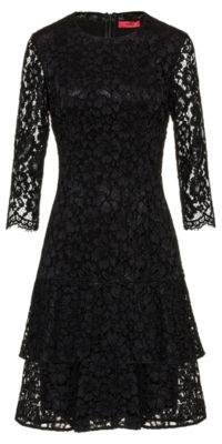 HUGO Regular-fit dress in lace with volant skirt