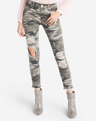 Express Mid Rise Destroyed Camo Stretch Ankle Pant
