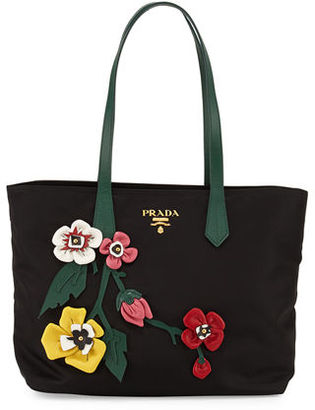 Prada Tessuto Medium Flowers Shopping Tote Bag $1,360 thestylecure.com