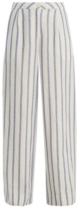 Thierry Colson - Biarritz Spugna Wide Leg Striped Trousers - Womens - Blue Stripe
