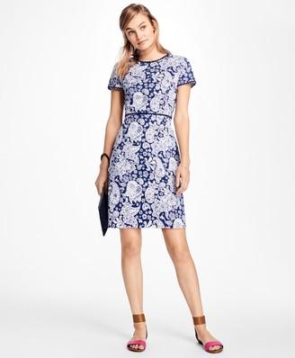 Brooks Brothers Short-Sleeve Paisley Print Ottoman Dress