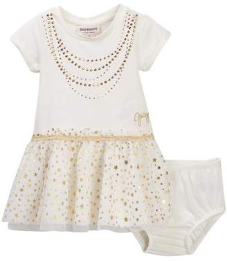 Juicy Couture Vanilla Necklace Sweatshirt Top & Tulle Bottom Dress (Baby Girls 12-24M)