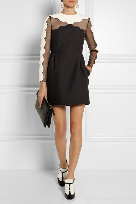 Valentino Scalloped wool-blend crepe and silk-organza dress
