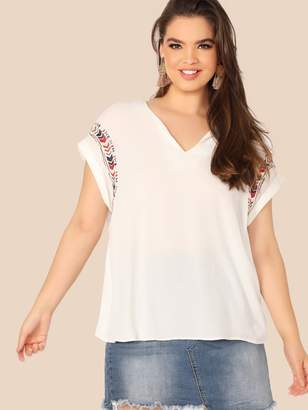 Shein Plus V-neck Cuff Sleeve Embroidery Top
