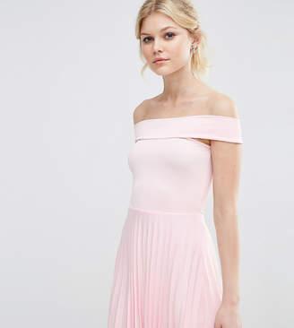 Asos Off The Shoulder Bardot Pleated Mini Dress